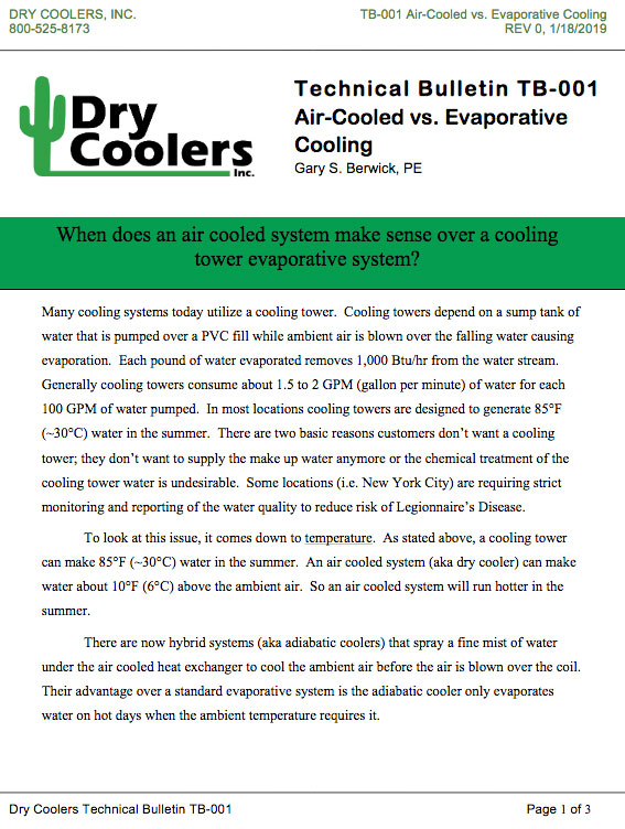 TB-001 Air-Cooled vs. Evaporative Cooling
