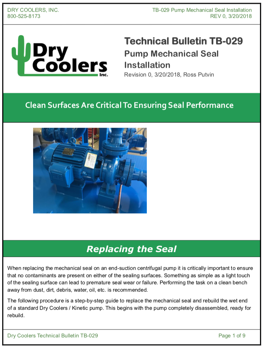 Close Coupled Pump Mechanical Seal Installation or Replacement